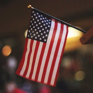an american flag at citizenship event